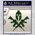 AR 15 Spartan Crossed Decal Sticker Dark Green Vinyl 120x120