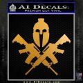 AR 15 Spartan Crossed Decal Sticker Metallic Gold Vinyl 120x120