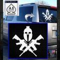 AR 15 Spartan Crossed Decal Sticker White Vinyl Emblem 120x120