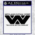 Alien Movie Decal Sticker Weylan Yutani Corp Black Vinyl Logo Emblem 120x120