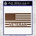American Flag Veteran Decal Sticker Brown Vinyl 120x120