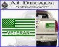 American Flag Veteran Decal Sticker Green Vinyl 120x97