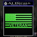 American Flag Veteran Decal Sticker Lime Green Vinyl 120x120