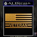 American Flag Veteran Decal Sticker Metallic Gold Vinyl 120x120