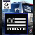American Forged Flag Decal Sticker White Vinyl Emblem 120x120