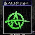 Anarchy Decal Sticker AK 47 Lime Green Vinyl 120x120