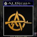 Anarchy Decal Sticker AK 47 Metallic Gold Vinyl 120x120