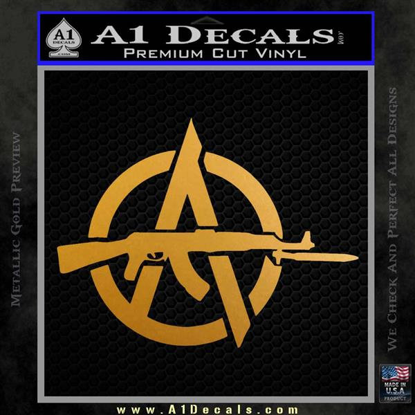 Anarchy Decal Sticker AK 47 Metallic Gold Vinyl