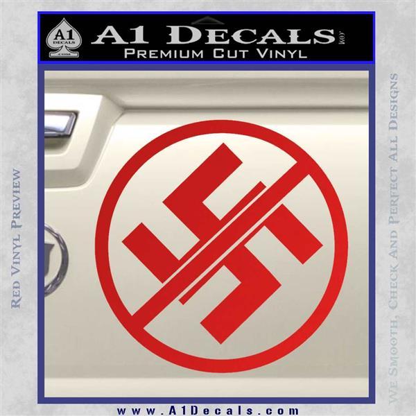 Anti Nazi No Nazis Allowed Decal Sticker Red Vinyl