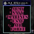 Army Navy Marine ASAF Decal Sticker Offer Hot Pink Vinyl 120x120