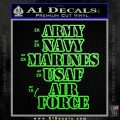 Army Navy Marine ASAF Decal Sticker Offer Lime Green Vinyl 120x120