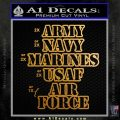Army Navy Marine ASAF Decal Sticker Offer Metallic Gold Vinyl 120x120