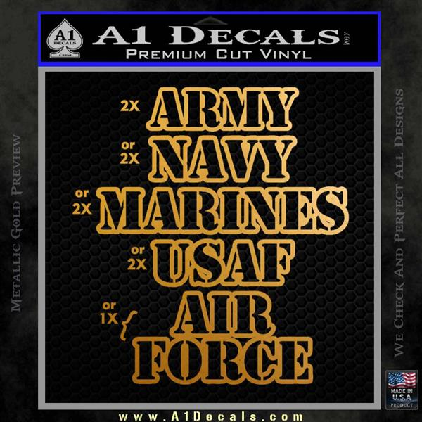 Army Navy Marine ASAF Decal Sticker Offer Metallic Gold Vinyl
