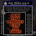 Army Navy Marine ASAF Decal Sticker Offer Orange Vinyl Emblem 120x120