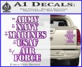 Army Navy Marine ASAF Decal Sticker Offer Purple Vinyl 120x97