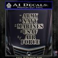 Army Navy Marine ASAF Decal Sticker Offer Silver Vinyl 120x120