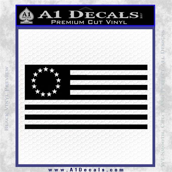 Betsy Ross Flag American Decal Sticker Black Vinyl Logo Emblem