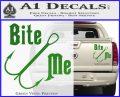 Bite Me Fishing Decal Sticker Hook Green Vinyl 120x97