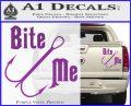 Bite Me Fishing Decal Sticker Hook Purple Vinyl 120x97