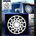 Black Sun Rune Decal Sticker White Vinyl Emblem 120x120