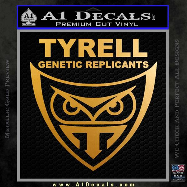Blade Runner Decal Sticker Tyrel Corp Metallic Gold Vinyl