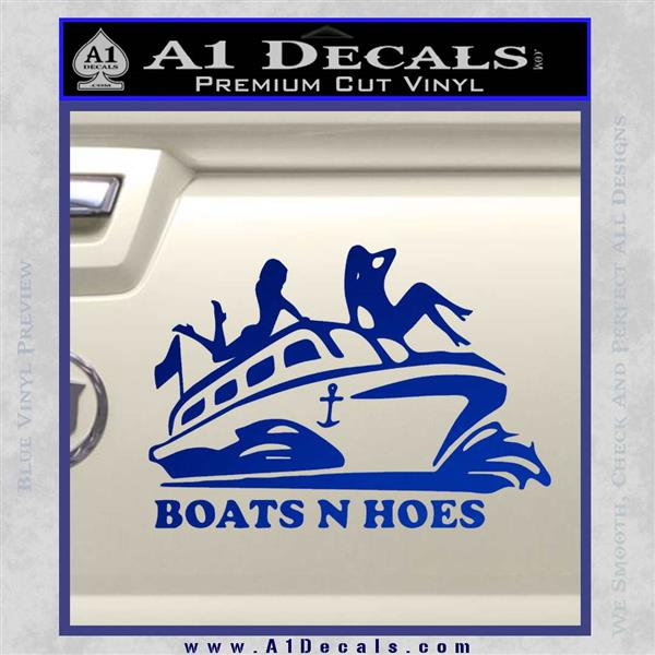 Boats N Hoes Decal Sticker D7 Blue Vinyl