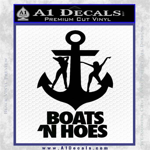 Boats N Hoes Decal Sticker D8 Black Vinyl Logo Emblem