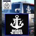 Boats N Hoes Decal Sticker D8 White Vinyl Emblem 120x120
