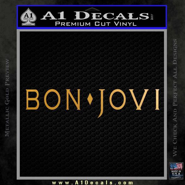 Bon Jovi Decal Sticker Text Metallic Gold Vinyl
