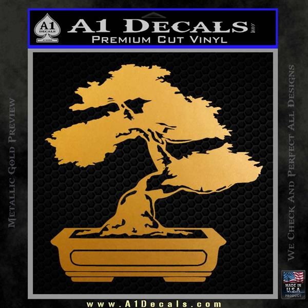 Bonsai Tree Decal Sticker D2 Metallic Gold Vinyl