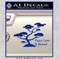 Bonsai Tree Decal Sticker Peace Love Blue Vinyl 120x120
