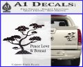 Bonsai Tree Decal Sticker Peace Love Carbon Fiber Black 120x97