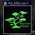 Bonsai Tree Decal Sticker Peace Love Lime Green Vinyl 120x120