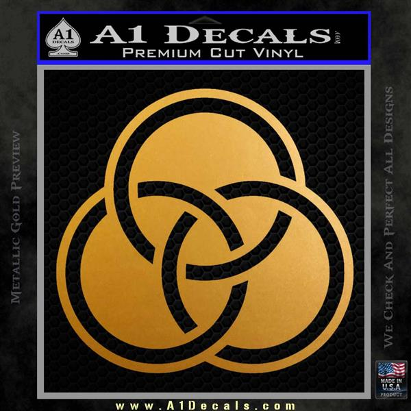 Borromean Rings Decal Sticker Trinity Celtic Metallic Gold Vinyl