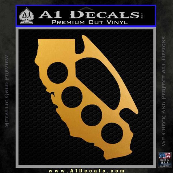 Cali Knucks Decal Sticker California Brass Knuckles Metallic Gold Vinyl