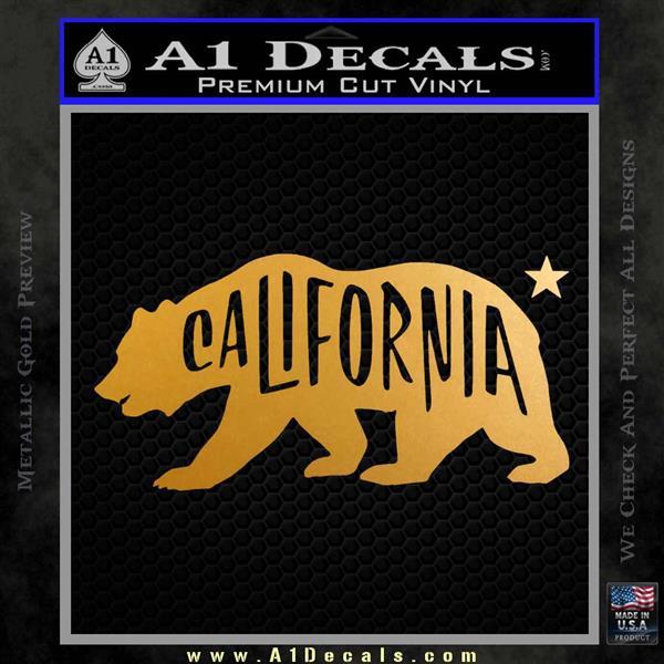 California Bear DN Decal Sticker Metallic Gold Vinyl