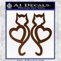 Cat Heart V7 Decal Sticker 2 Pack Brown Vinyl 120x120