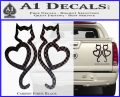 Cat Heart V7 Decal Sticker 2 Pack Carbon Fiber Black 120x97