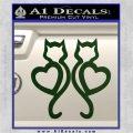 Cat Heart V7 Decal Sticker 2 Pack Dark Green Vinyl 120x120