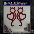 Cat Heart V7 Decal Sticker 2 Pack Dark Red Vinyl 120x120