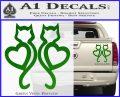 Cat Heart V7 Decal Sticker 2 Pack Green Vinyl 120x97