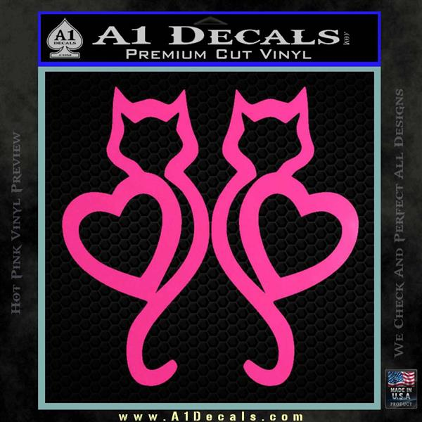 Cat Heart V7 Decal Sticker 2 Pack Hot Pink Vinyl
