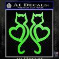 Cat Heart V7 Decal Sticker 2 Pack Lime Green Vinyl 120x120