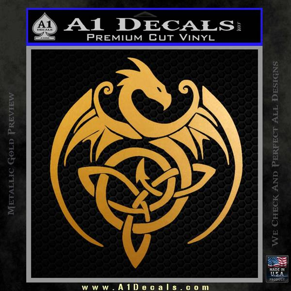 Celtic Dragon Knot Decal Sticker Metallic Gold Vinyl