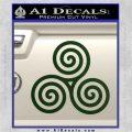Celtic Triskelion Rune Triple Swirl Decal Sticker Dark Green Vinyl 120x120