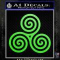 Celtic Triskelion Rune Triple Swirl Decal Sticker Lime Green Vinyl 120x120