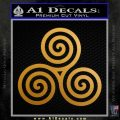 Celtic Triskelion Rune Triple Swirl Decal Sticker Metallic Gold Vinyl 120x120
