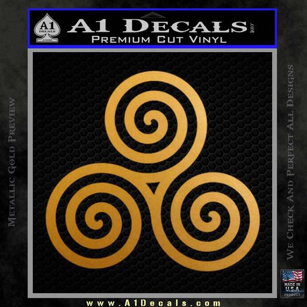 Celtic Triskelion Rune Triple Swirl Decal Sticker Metallic Gold Vinyl