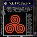 Celtic Triskelion Rune Triple Swirl Decal Sticker Orange Vinyl Emblem 120x120