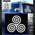 Celtic Triskelion Rune Triple Swirl Decal Sticker White Vinyl Emblem 120x120